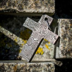 Forged Cross in Damascus Steel