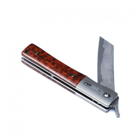 Higonokami Knife Damascus Steel and Wood